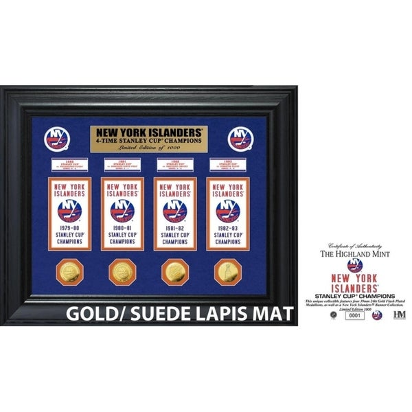 New York Islanders 4-Time Stanley Cup Champions Deluxe Gold Coin & Banner Collection 34296272