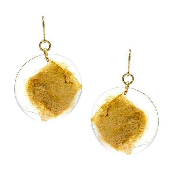 Goldtone Gold Fleck Lucite Disc Drop Earrings 34309329