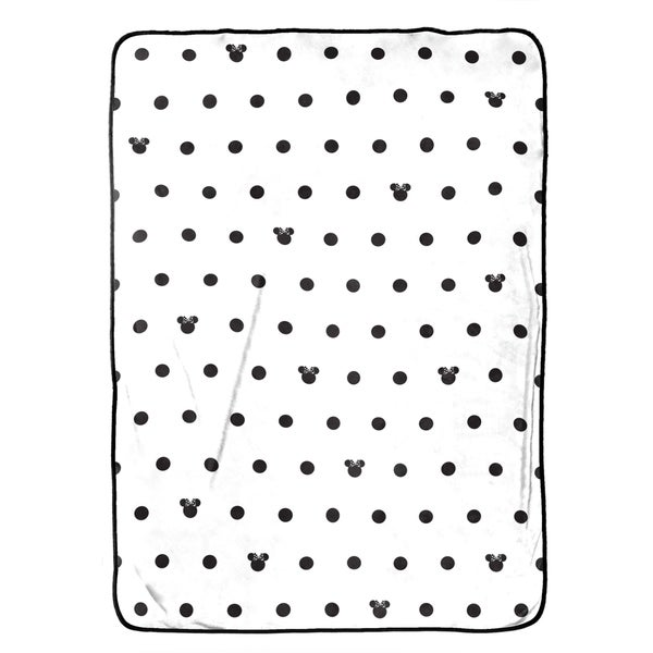 Disney Minnie Mouse Icon and Dots Blanket, Black/White 34309680