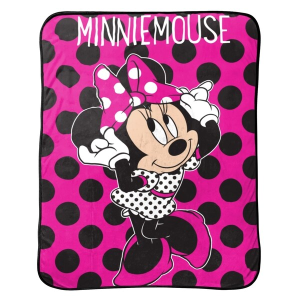 """Disney Minnie Mouse Dots Are The New Black Plush Throw, 46"""" x 60"""" 34311416"""
