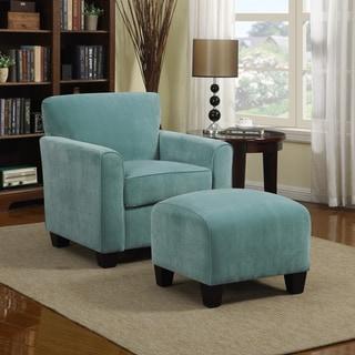 Porch & Den Kalamath Turquoise Velvet Arm Chair and Ottoman
