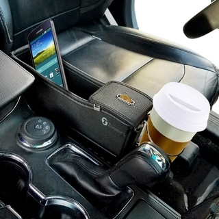 Zone Tech Driver Side Pocket Organizer - Classic Black Premium Quality Coin Side Pocket with Cup Holder Organizer