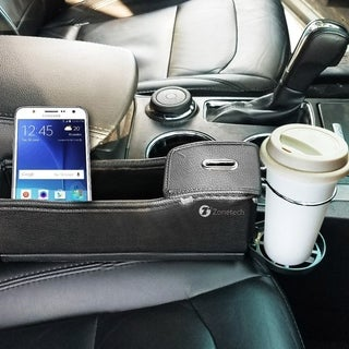 Zone Tech Passenger Side Pocket Organizer - Classic Black Premium Quality Coin Side Pocket with Cup Holder Organizer