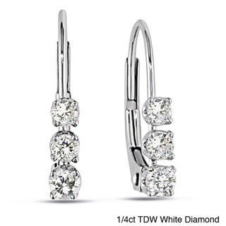 Miadora 14k White Gold 1/4ct TDW Diamond Leverback Earrings with Bonus Earrings