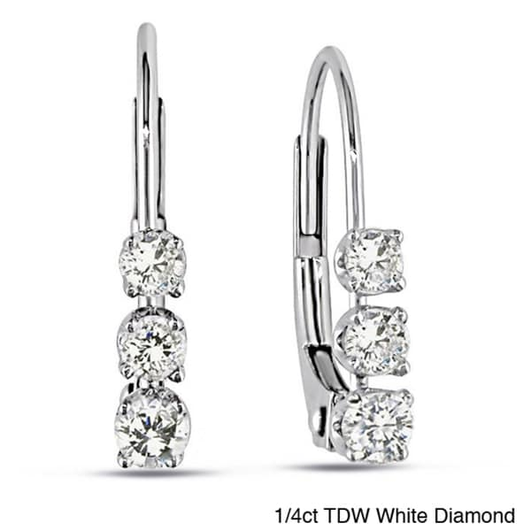 Haylee Jewels 1/4 CT Diamond TW LeverBack Earrings 14k White Gold GH I3