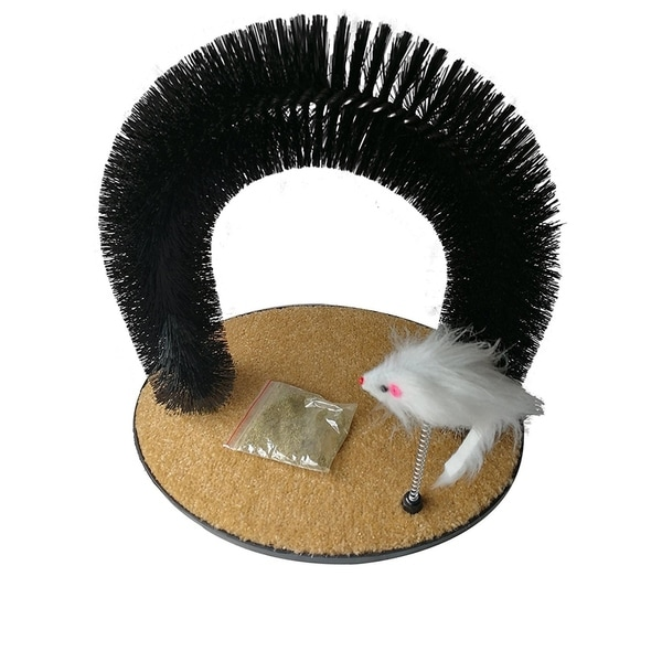 ALEKO Self Grooming Cat Massage Arch with Scratching Pad and Mouse Toy 34337891