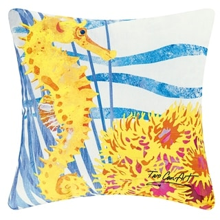 Yellow Seahorse Coastal Indoor/Outdoor 18x18 Throw Accent Decorative Accent Throw Pillow