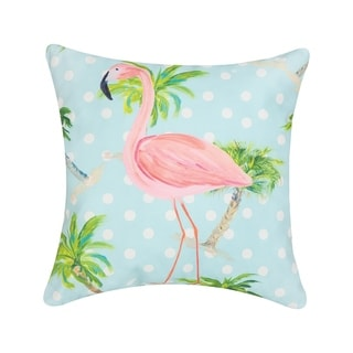 Palm Beach Flamingo Printed 18 Inch Accent Decorative Accent Throw Pillow