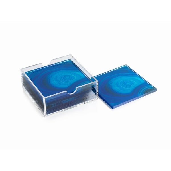 Square Coasters with Holder, Deep Blue Agate Pattern (Set of 6) 34358634