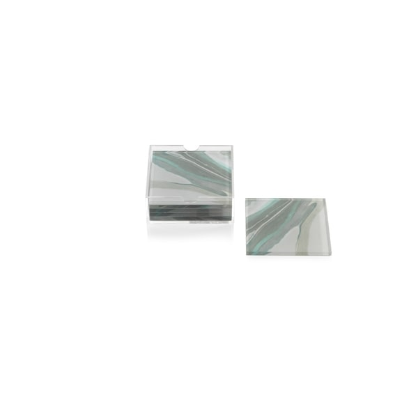 """Aqua Lagoon"" Agate Coasters with Holder, Square Shaped (Set of 6) 34358640"