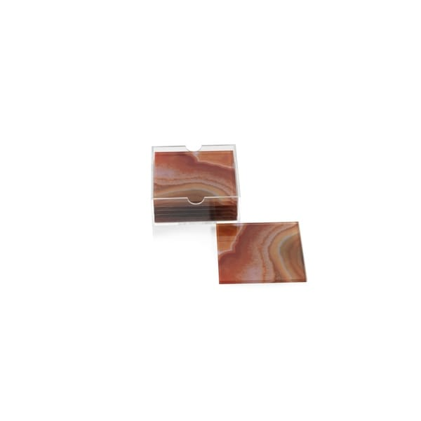 Square Coasters with Holder, Orange Agate Pattern (Set of 6) 34358674