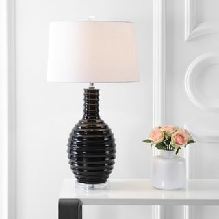 """Dylan 29.5"""" Ceramic LED Table Lamp, Black by JONATHAN Y"""