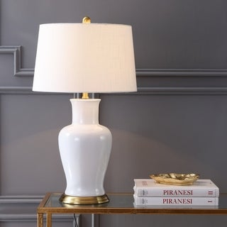 """Julian 29"""" Ceramic LED Table Lamp, White/Gold by JONATHAN Y"""