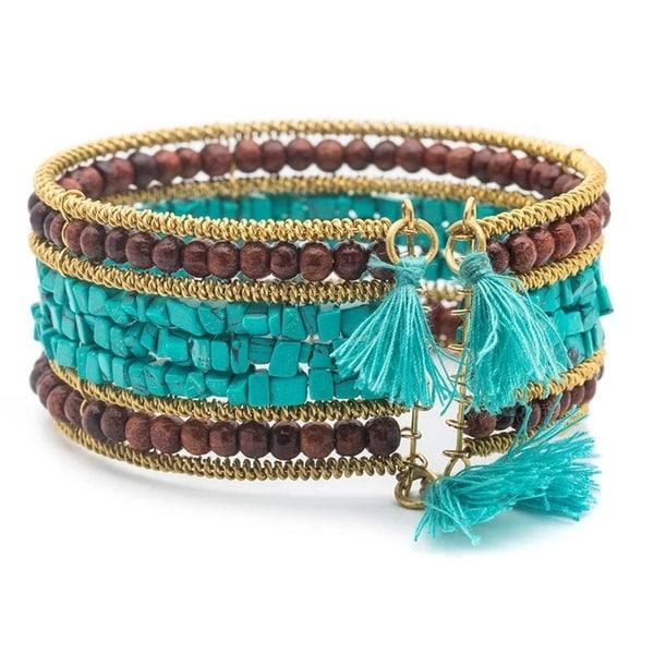 Handmade Shanthi Cuff - Turquoise and Wood - Bracelet (India) 34374791