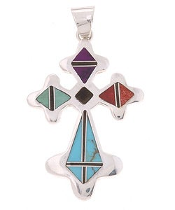 Sterling Silver Turquoise Coral Cross