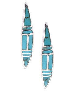 Sterling Silver and Inlay Turquoise Earrings