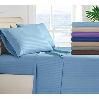 Porch & Den Stripe Bed Sheet Pattern 1800TC Deep Pocket Bed Sheet Set