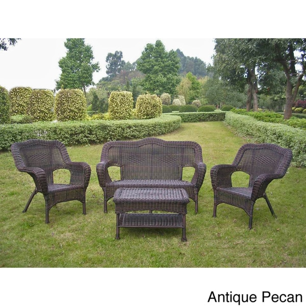 International Caravan Four Piece Pvc Wicker Steel Outdoor