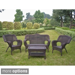 International Caravan Four-piece PVC Wicker/ Steel Outdoor Settee Group