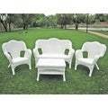 Four-piece PVC Wicker/ Steel Outdoor Settee Group