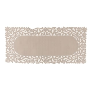 Florence Floral Cutwork Trimed Edge Table Runner, 16 by 36-Inch, Taupe