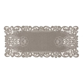 Claire Floral Embroidered Cutwork Table Runner, 16 by 36-Inch, Grey