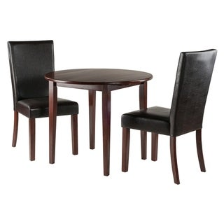 Winsome Clayton Solid Wood Drop Leaf Table Set with 2 Chairs in Walnut Finish - 3 Piece