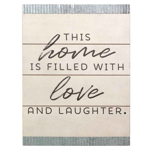 Stratton Home Decor This home is filled with love Wood and Galvanized Wall Art 34410623