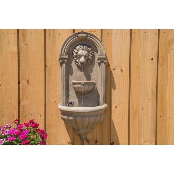 "Design Craft Leo 35"" Outdoor Wall Fountain - Sandstone 34412652"