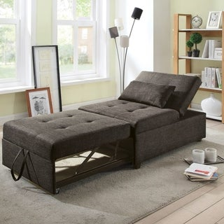 Furniture of America Jave Modern Linen Fabric Convertible Futon Chair