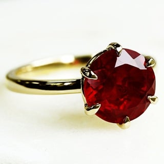 Annello by Kobelli 14k Gold 10mm Created Red Ruby 6-Prong Solitaire Womens Ring