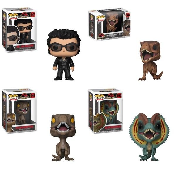 Funko POP! Movies Jurassic Park Collectors Set; Dr. Ian Malcolm, Tyrannosaurus, Velociraptor & Dilophosaurus 34448040