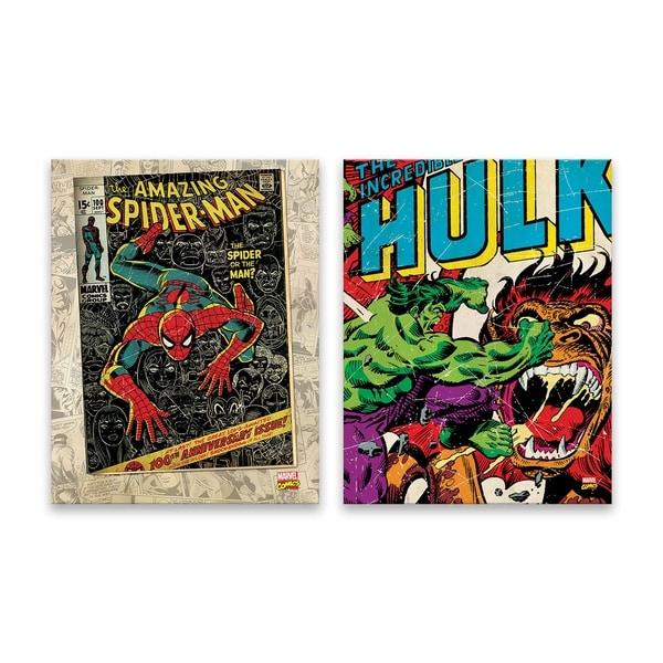 Marvel Hulk and Spiderman - 2 Piece Printed Canvas Set 34451408
