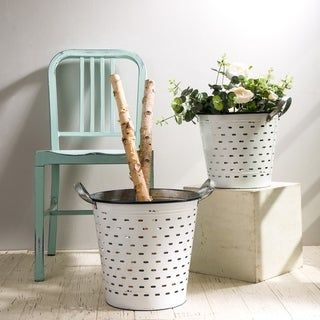 Glitzhome Farmhouse Galvanized Metal Planters (Set of 2)