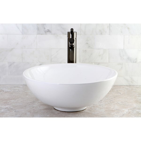 Round Vitreous China Above-Counter Vessel Sink - 10367916 - Overstock ...
