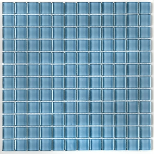 Glass Mosaic 1x1-inch Accent Tile in Classic Solid Blue Lagoon - 12x12 34972770