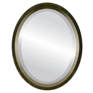 Huntington Framed Oval Mirror in Veined Onyx - Black/Dark Gold