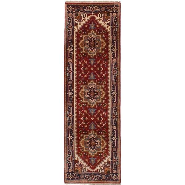 eCarpetGallery Hand-knotted Serapi Heritage Dark Red Wool Rug - 2'6 x 8'0 34527528
