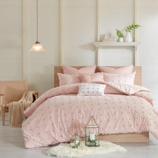 Silver Orchid Vaseux Pink Cotton Jacquard Comforter Set