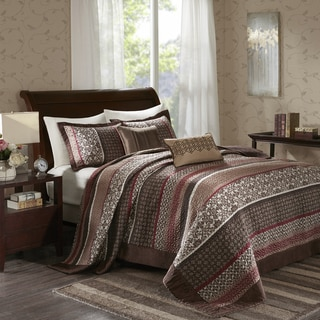 Madison Park Dartmouth Red 5 Piece Jacquard Bedspread Set