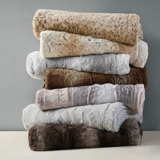Silver Orchid Bogaert Faux Fur Overside Throw Blanket