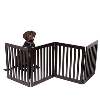 Internet's Best Traditional Pet Gate 4 Panel 24 Inch Step Over Fence Free Standing Doorway Hall Stairs Dog Puppy Gate
