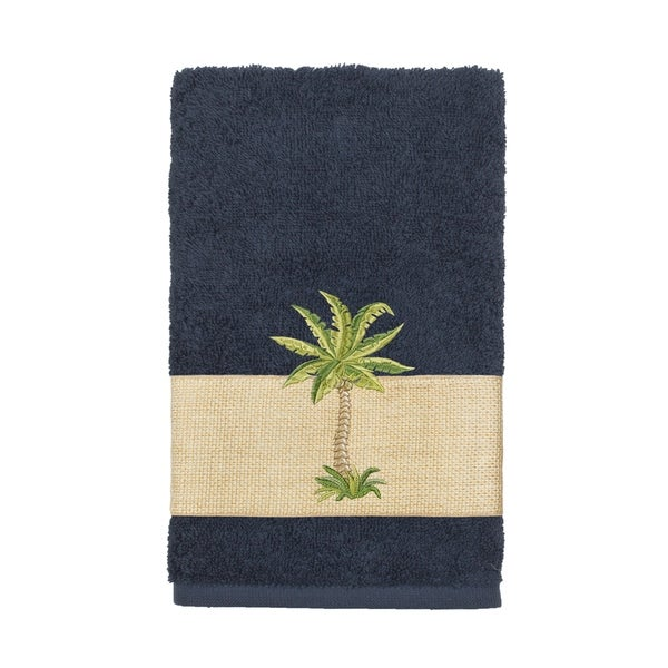 Authentic Hotel and Spa Turkish Cotton Palm Tree Embroidered Midnight Blue Hand Towel 34565352