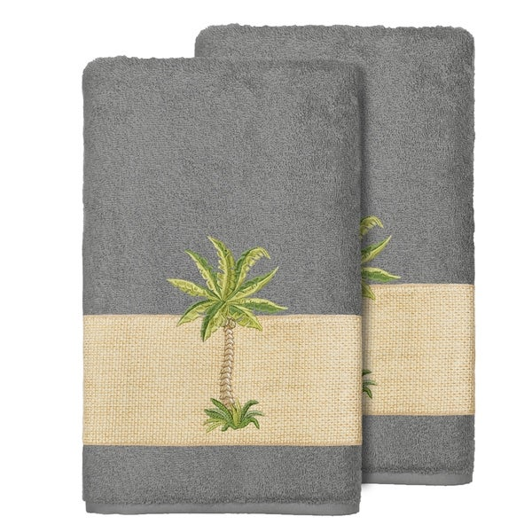 Authentic Hotel and Spa Turkish Cotton Palm Tree Embroidered Charcoal Grey Bath Towels (Set of 2) 34565385