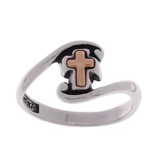 CGC 14-kt Yellow Gold Cross and Sterling Silver Ring