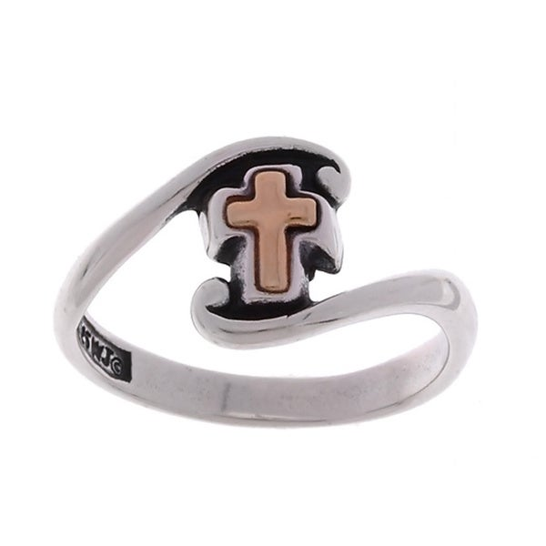 Jewelry Trends 14-kt Yellow Gold Cross and Sterling Silver Ring