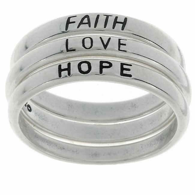 Jewelry Trends Sterling Silver Faith/ Love/ Hope Stackable Ring Set