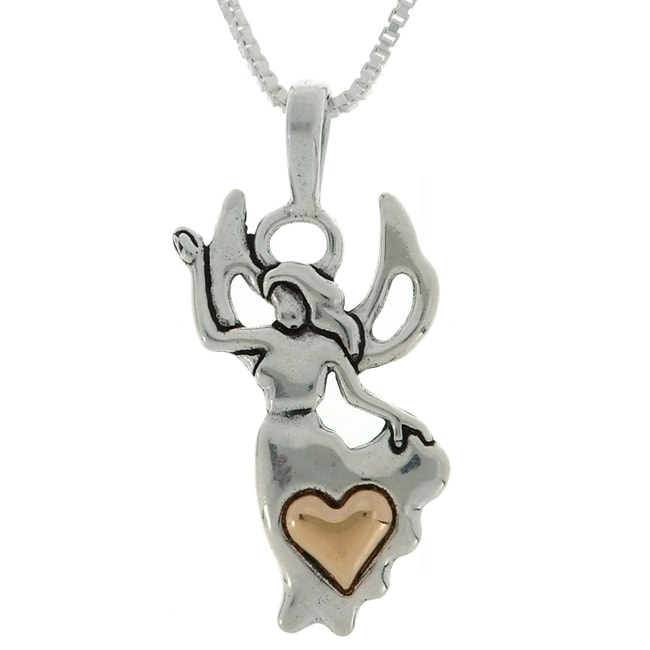Carolina Glamour Collection Sterling Silver and 14k Gold Angel and Heart Necklace