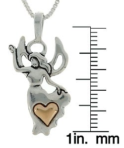 CGC Sterling Silver and 14k Gold Angel and Heart Necklace