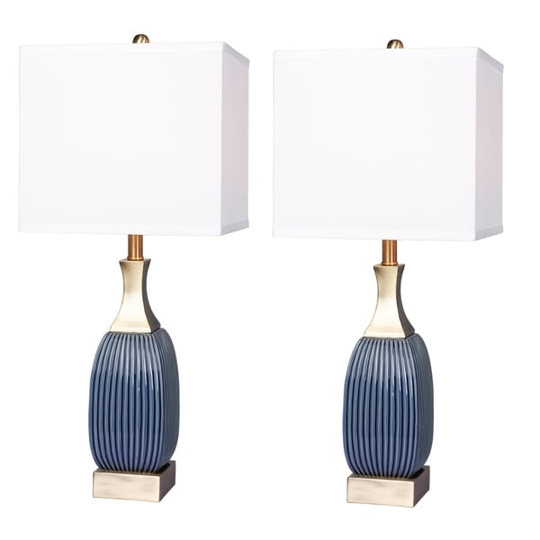 2 luxury lamps! Fangio Lighting's #8987BAB-2PK 26.5 in. Vertically Ribbed Blue Ceramic & Antique Brass Table Lamps 34585263